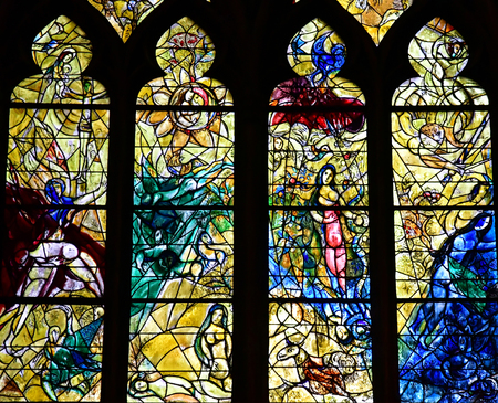 chagall: Metz, France - july 25 2016 : stained glass window of the Saint Etienne cathedra drawn by Marc Chagalll Editorial