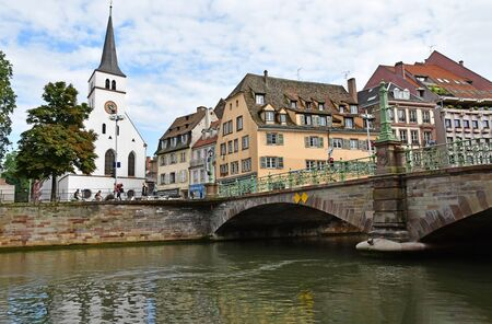 touristy: Strasbourg, France - july 24 2016 : the picturesque city center in summer