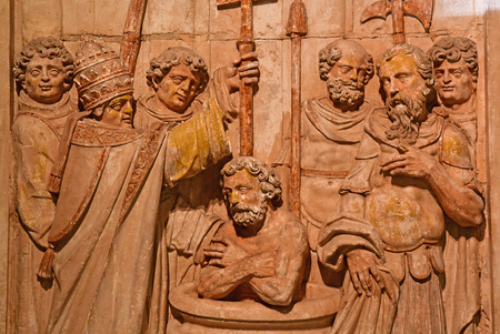 Reims, France - july 26 2016 : bas relief of Clovis baptism Sajtókép