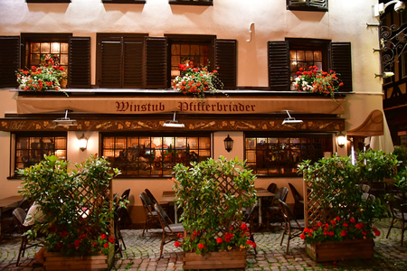 Strasbourg, France - july 24 2016 : the picturesque city center in summer night Editorial