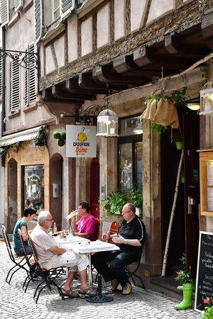 touristy: Strasbourg, France - july 22 2016 : restaurant in the picturesque city center in summer