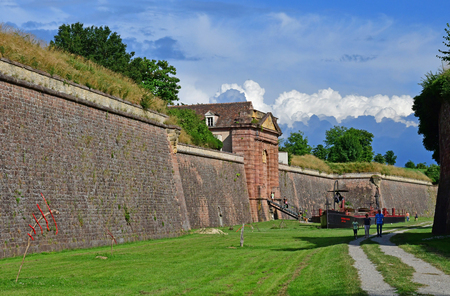 Neuf Brisach, France - july 23 2016 : the fortification in summer