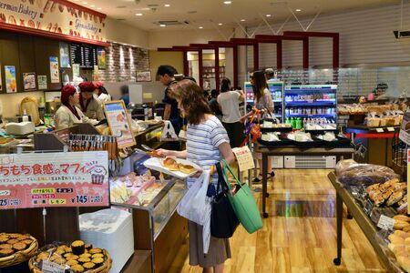 Kanazawa, Japan - august  2017 : bakery in the train station shopping center Редакционное