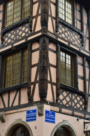 Strasbourg, France - august 13 2017 : sculpture on an old house in the city centre