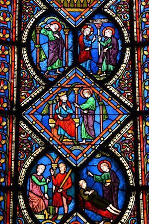 Caen; France - july 17 2017 : the Saint Etienne church window