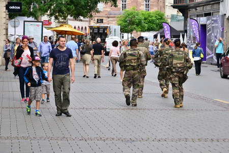 Strasbourg, France - july 28 2017 : soldier patrol in the city center in summer