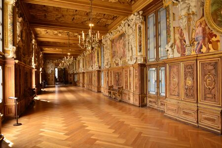 Fontainebleau, France - july 21 2017 : the historical Francois the first hall Editorial