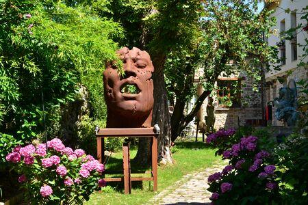 Barbizon, France - july 21 2017 : sculpture in an hotel park
