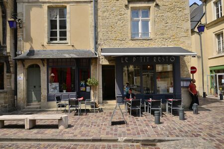 Bayeux; France - july 18 2017 : restaurant in the historical city center Editorial