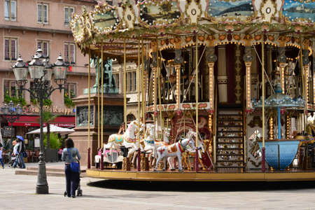 Strasbourg, France - july 28 2017 : the picturesque carousel in the city center in summer