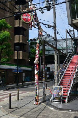 Osaka, Japan - august 5 2017 : street lamp in the Amerika Mura district