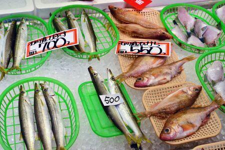 Kanazawa, Japan - august 2 2017 : fish shop at the Omicho Ichiba market Editorial