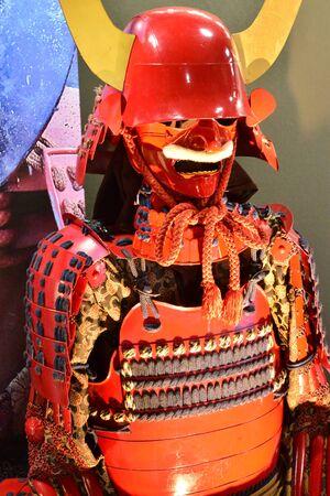 Hikone, Japan - august 9 2017 : samurai armour in the historical castle Editorial
