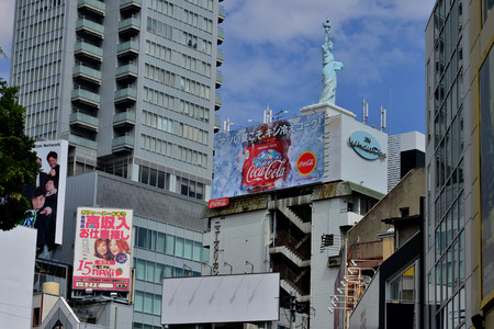 Osaka, Japan - august 5 2017 : Liberty statue in the Amerika Mura district Editorial