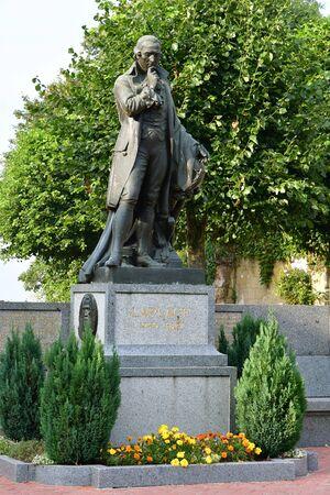 Beaumont en Auge; France - august 8 2016 : the Laplace statue, afamous mathematician Editorial