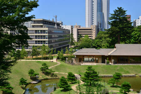 Kanazawa, Japan - august 2 2017 : the city view from the Kenroku En park Editorial
