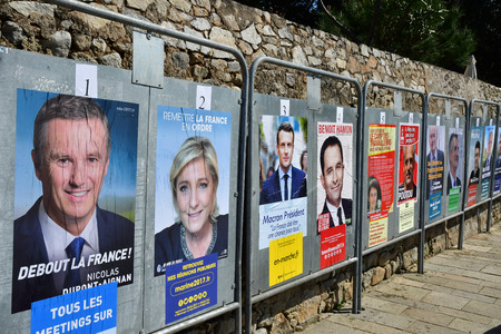 Batz sur Mer, France - april 12 2017 : French presidential election posters