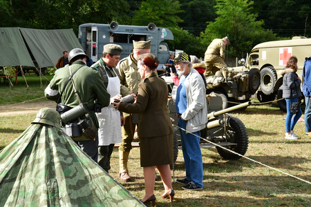 Verneuil sur Seine; France - september 9 2017 : old military equipment of the second world war in air show of Verneuil sur Seine Editorial