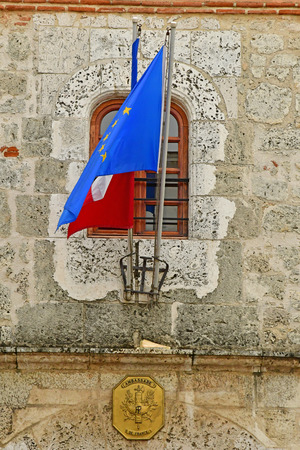Santo Domingo, Dominican Republic - may 31 2017 : the French embassy in Cortes house