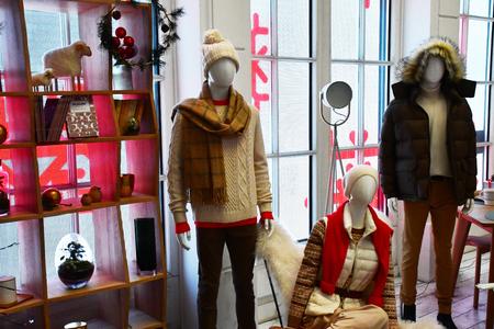 Paris; France - december 22 2017 : a clothes shop in the Marais district