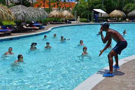 Punta Cana, Repubblica Dominicana - 3 giugno 2017: acquagym in piscina