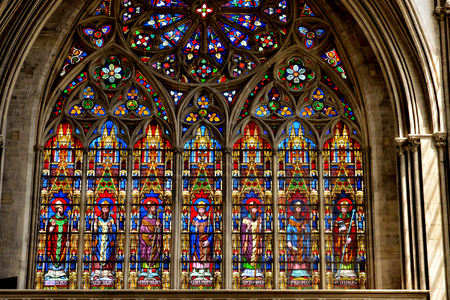 Bayeux; France - july 18 2017 : stained glass window of the historical cathedral