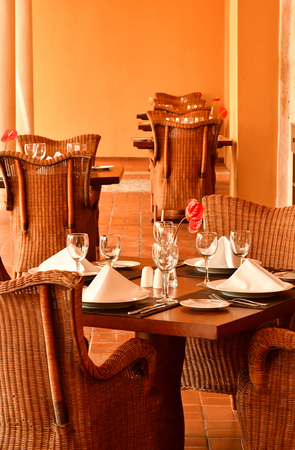 Santo Domingo, Dominican Republic - may 31 2017 : restaurant in the picturesque colonial district Editorial