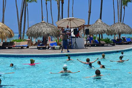 Punta Cana, Dominican Republic - june 3 2017 : aquagym in a pool