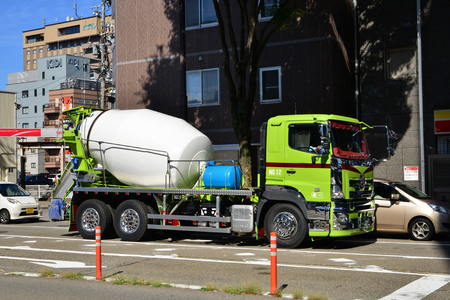 Kanazawa, Japan - august 3 2017 : cement mixer in the station district