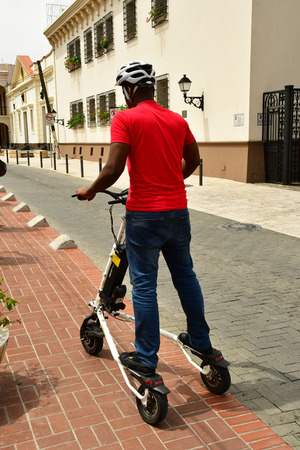 Santo Domingo, Dominican Republic - may 31 2017 : electric scouter in the picturesque colonial district
