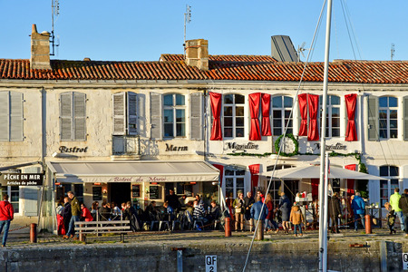 Saint Martin de Re; France - november 24 2017 : the picturesque village and boats in the port