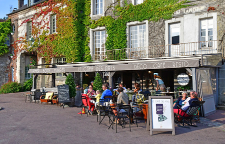 Beaumont en Auge; France - august 8 2016 : restaurant in the picturesque village in summer
