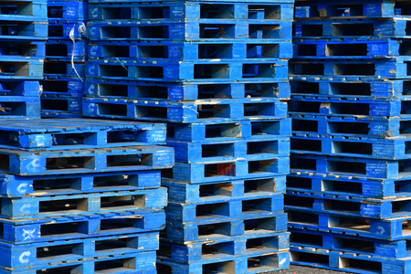 Palenque, Chiapas, United Mexican States - may 17 2018 : a pile of pallets Editöryel