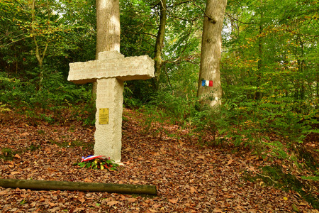 Lisors; France - november 1 2017 : place  where resistants were shot by the germans in Lyons forest in 1944