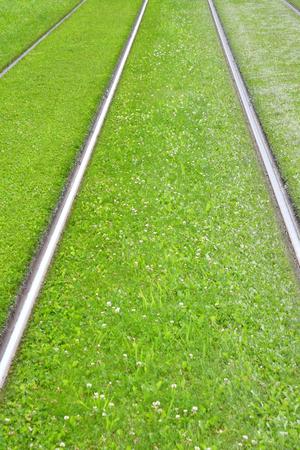 Strasbourg, France - july 24 2016 : grassed railway Stock Photo