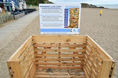 Saint Nazaire, France - april 4 2017 : bin in Saint Marc sur Mer beach Editorial