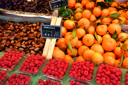 La Flotte; France - november 26 2017 : the picturesque market in the village centre
