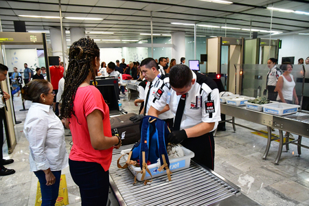 Mexico;  United Mexican StateS - may 14 2018 : body and luggage inspection in the airport Редакционное