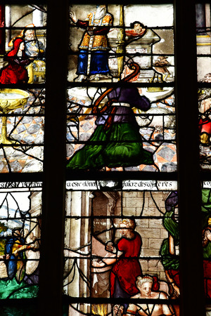 Montfort L Amaury; France - may 1 2018 : stained glass window of the historical renaissance church