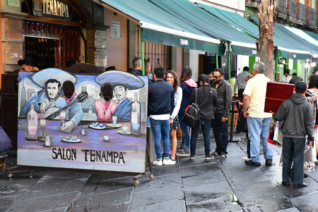 Mexico;  United Mexican States - may 13 2018 : restaurant at the Garibaldi square Editorial