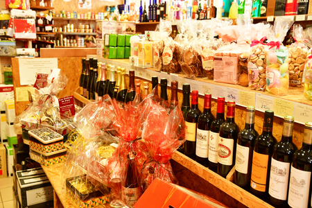 Courseulles sur Mer, France - april 22 2018 : specialities of Normandie in a shop