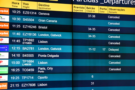 Funchal, Madeira, Portugal - february 21 2018 : the airport flights sign