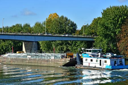 Les Mureaux, France - october 13 2017 : the Seine riverside