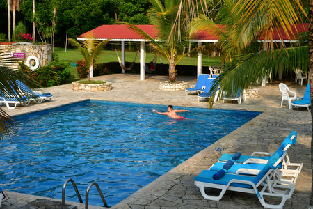 Palenque, Chiapas, United Mexican States - may 17 2018 : an hotel restaurant