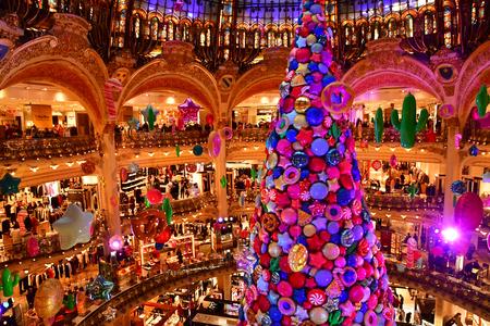 Paris; France - december 22 2017 : the Galeries Lafayette, a famous departement store