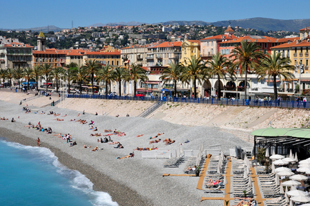 Nice, France - april 19 2016 : the picturesque seaside