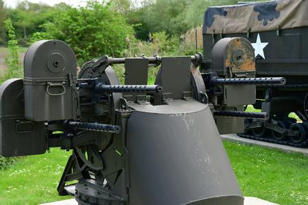 Benouville; France - april 22 2018 : M5 Quadmount machine gun in the Pegasus bridge memorial