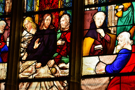 Triel sur Seine; France - august 27 2017 : the Last Supper on thel Saint Martin church stained glass window