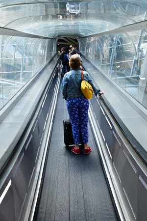 Roissy, France - august 14 2018 :  the Paris Charles de Gaulle airport 에디토리얼