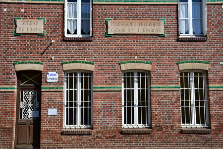 Boury en Vexin, France - april 3 2017 : the old post office Editorial
